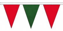 RED AND DARK GREEN TRIANGULAR BUNTING - 10m / 20m / 50m LENGTHS
